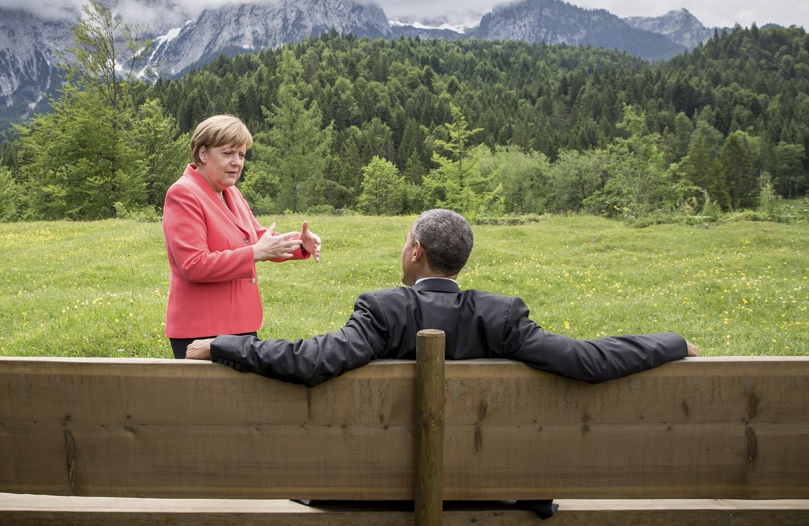Barack Obama and Angela Merkel at G7