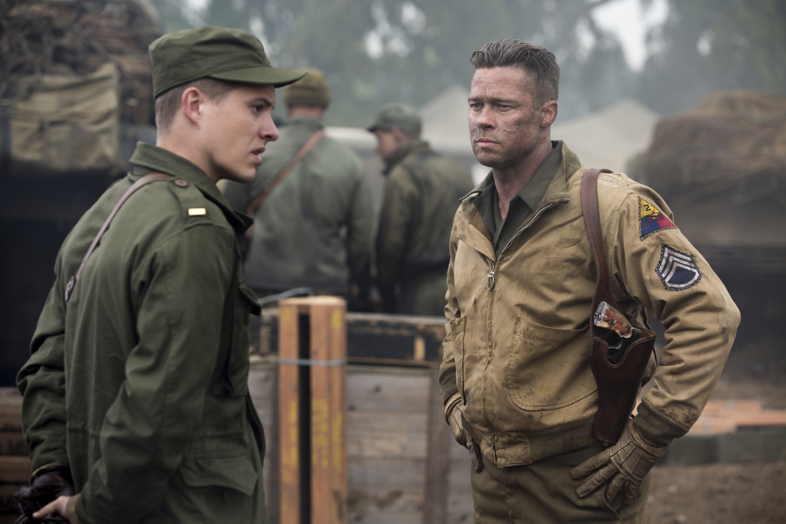 Xavier Samuel and Brad Pitt in Fury