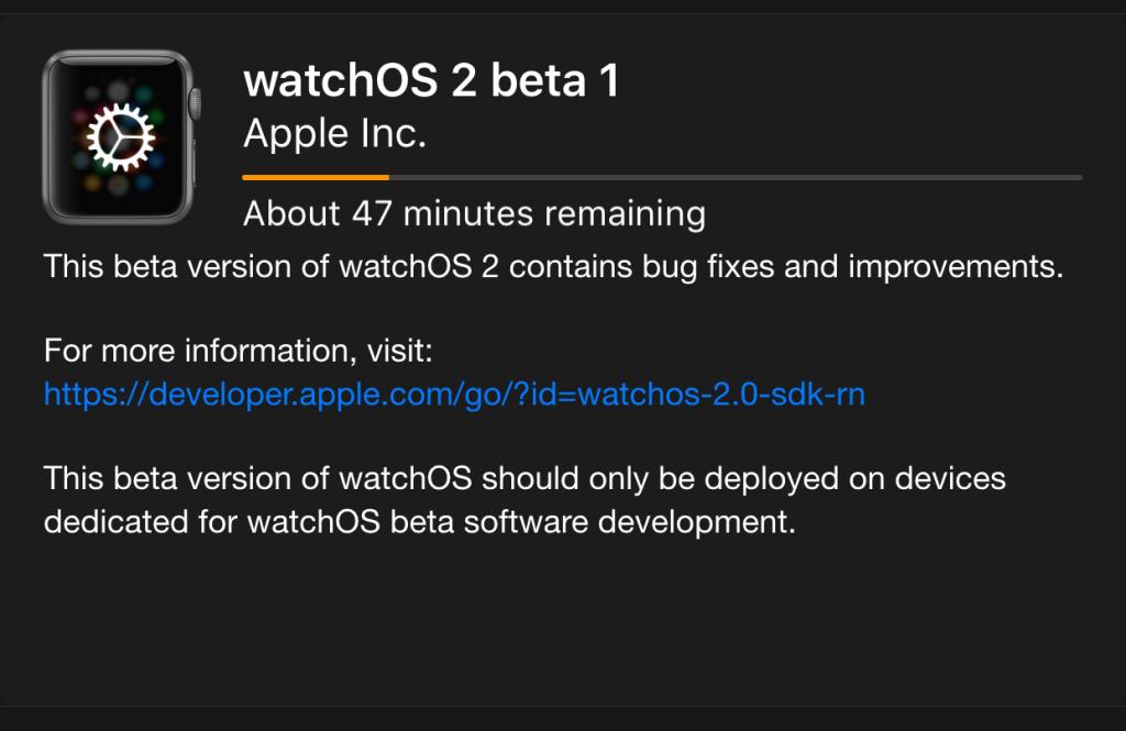 Watch OS 2 beta 1