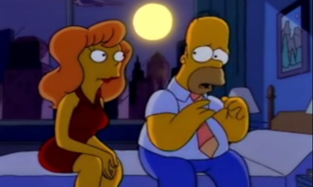 Mindy and Homer in The Simpsons