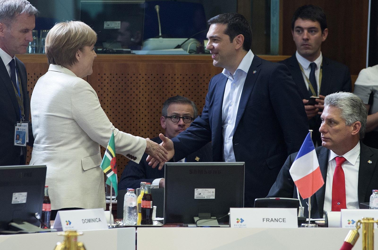 Angela Merkel and Alexis Tsipras in Brussels