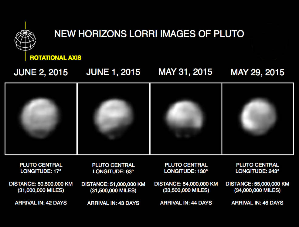 Nasa New Horizons spots Pluto's bright and dark faces in ...