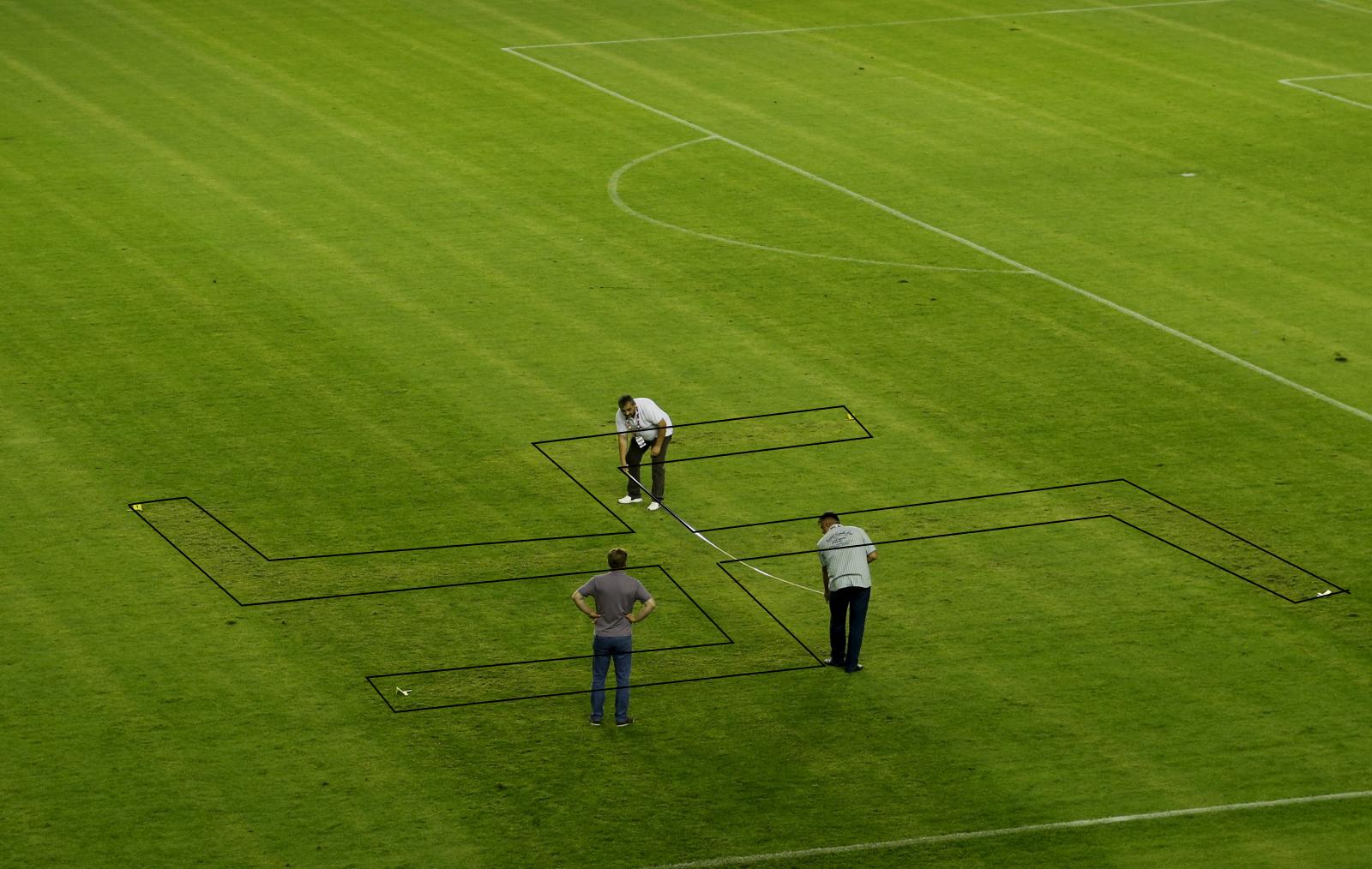 Croatia vs Italy swastika marked pitch