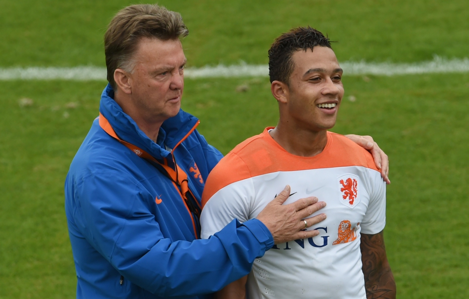 Memphis Depay and Louis van Gaal