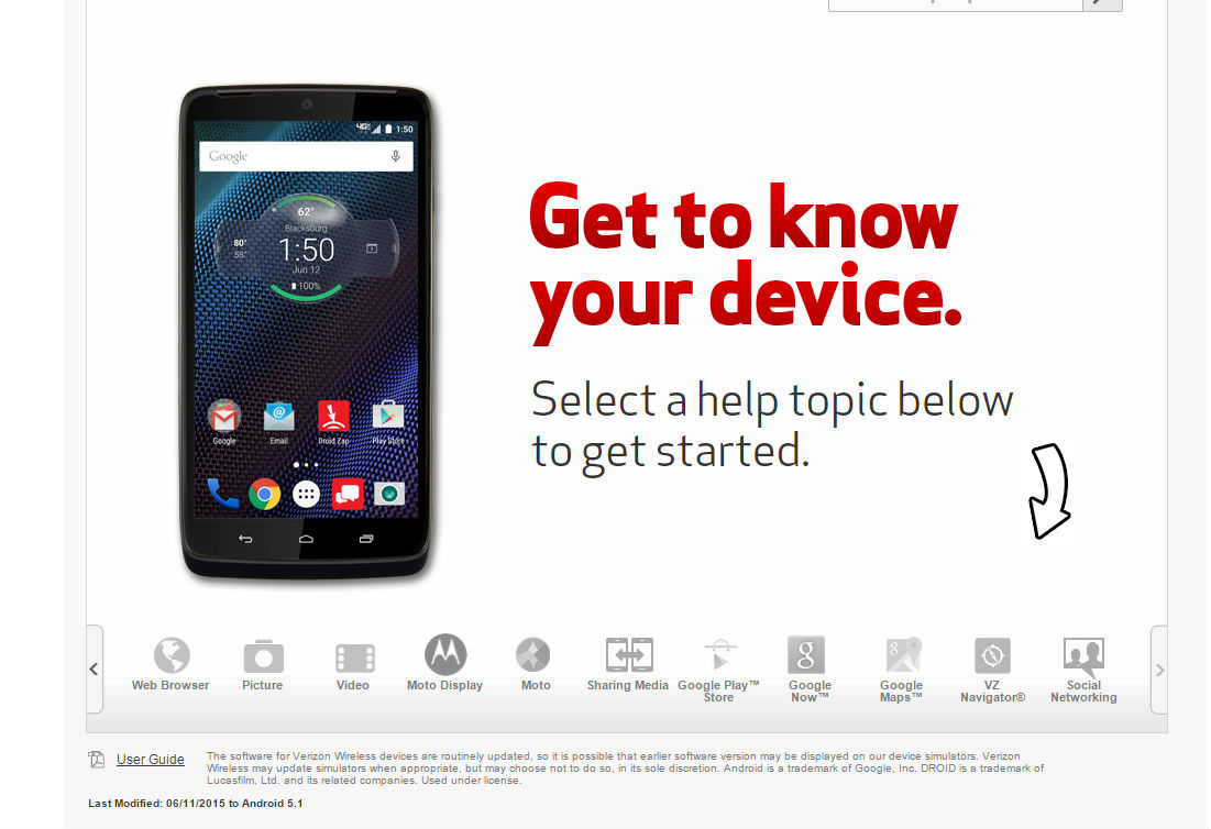 Verizon Android 5.1 in-browser simulator