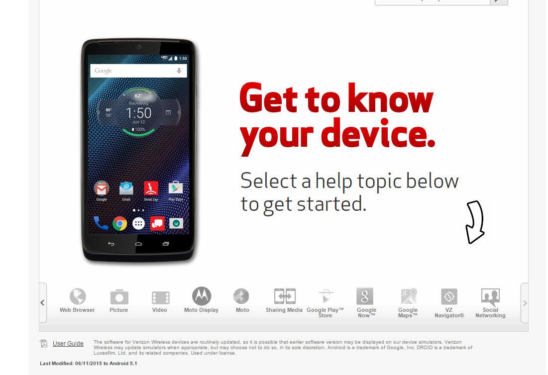 Verizon Android 5.1 in-browser simulator
