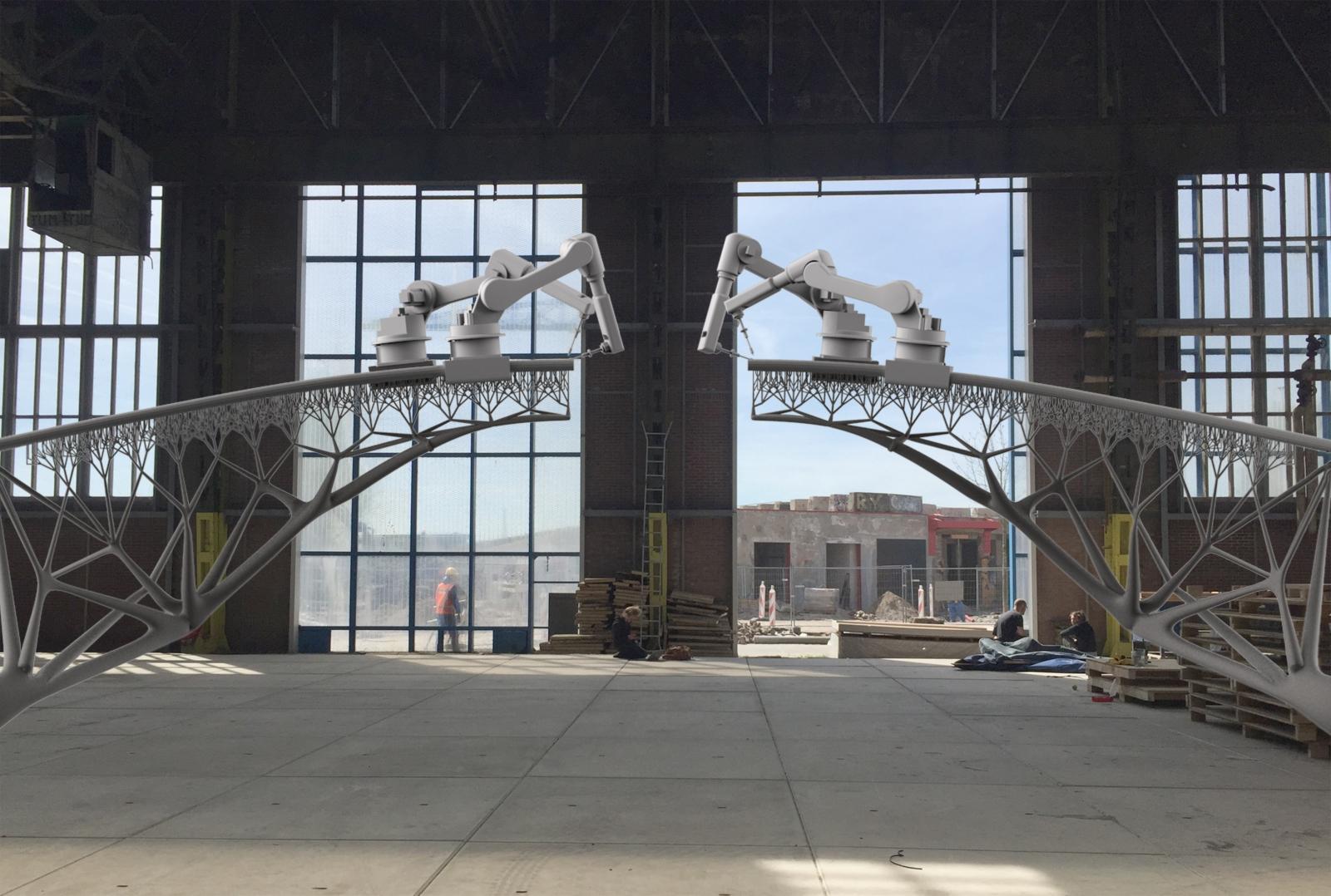 MX3D 3D printing a bridge using robots