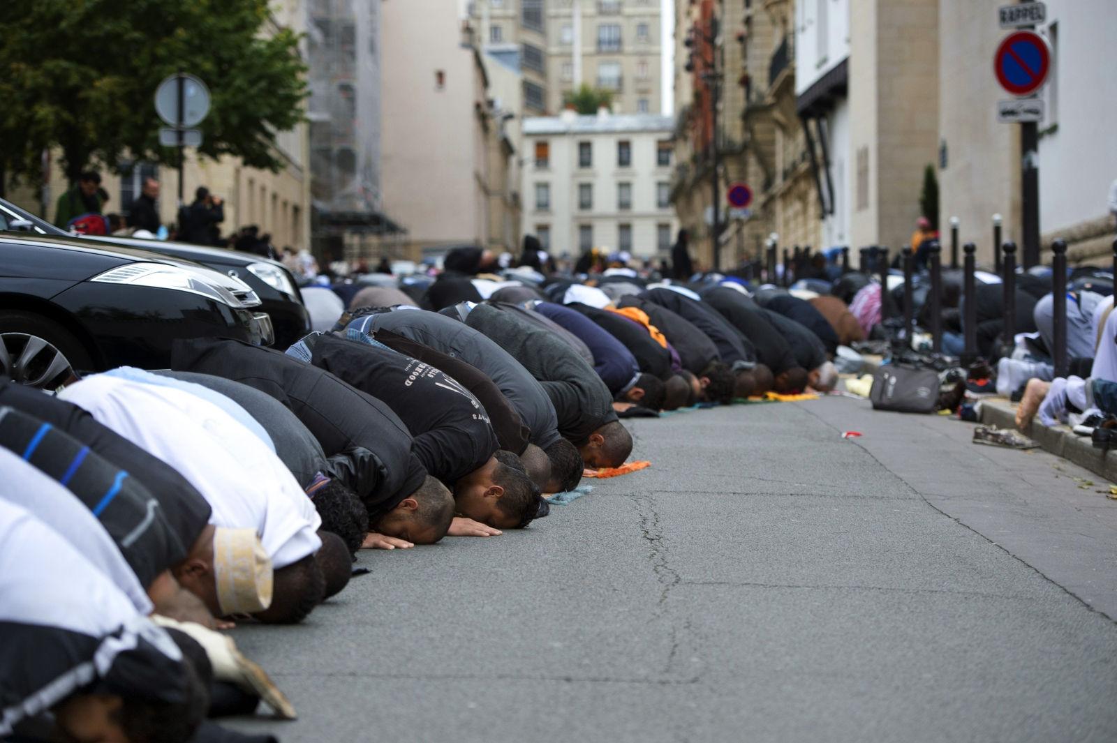 Worshippers outside the Grande Mosque in Paris