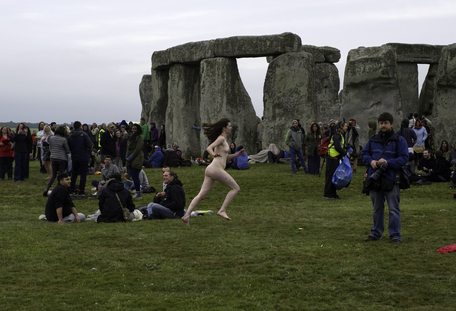 A naked reveller at Stonehenge