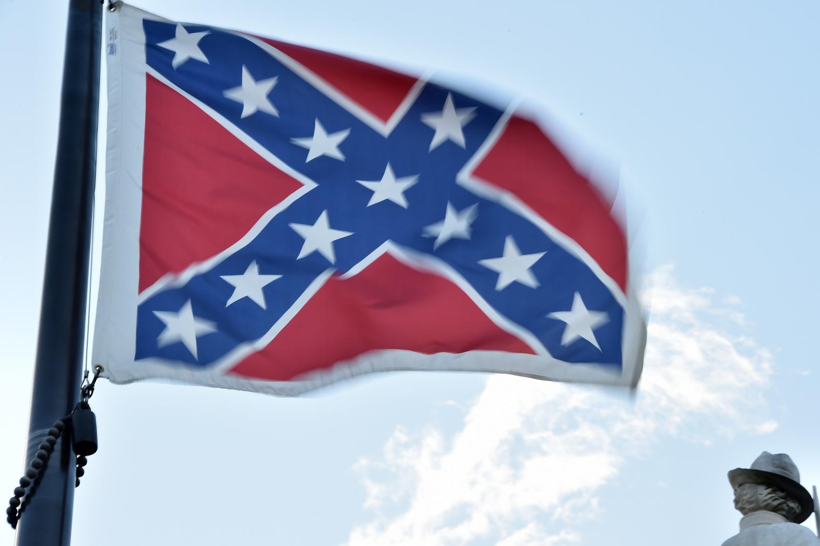 The Confederate flag flies outside South Carolina's