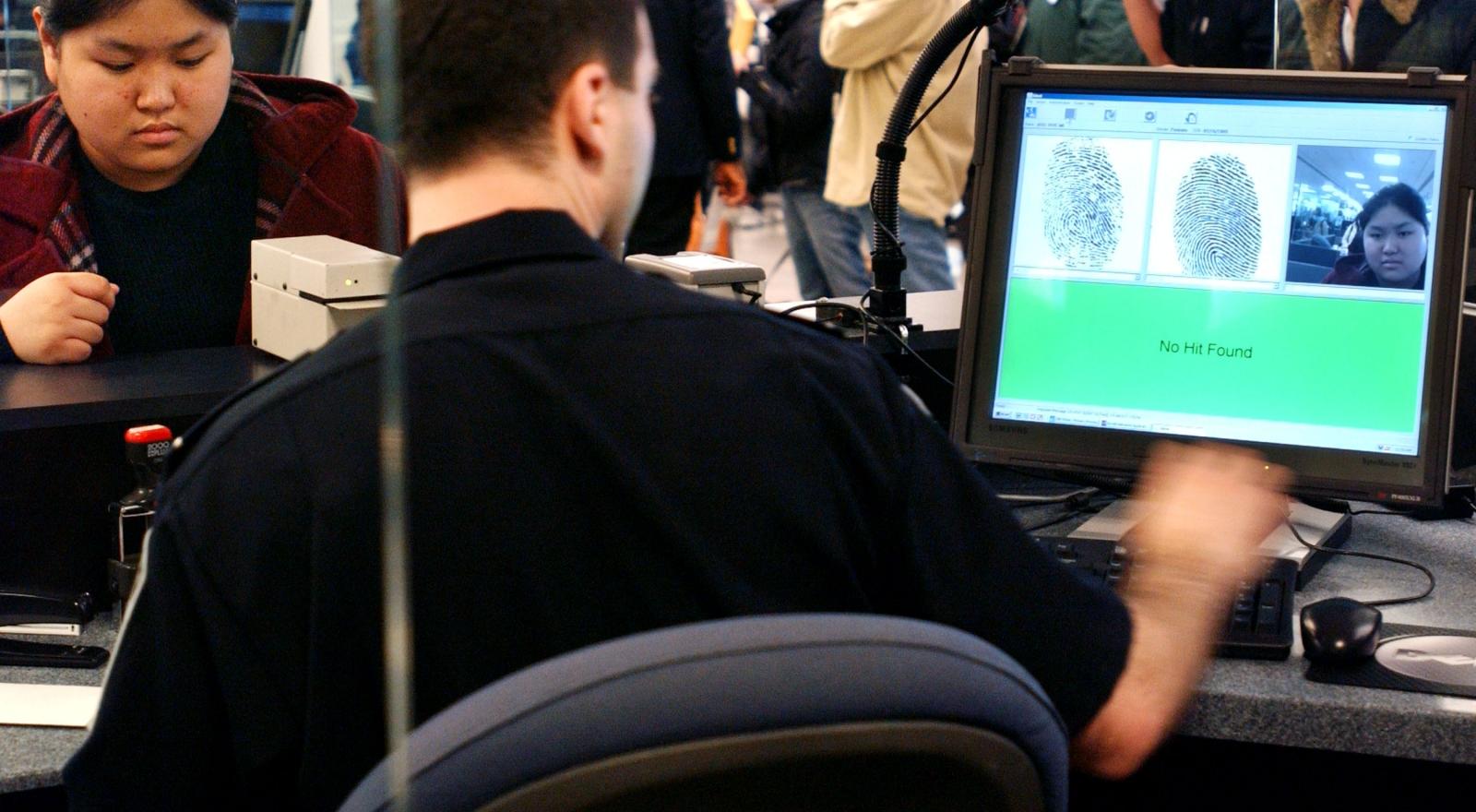 Biometric immigration scanner at JFK airport