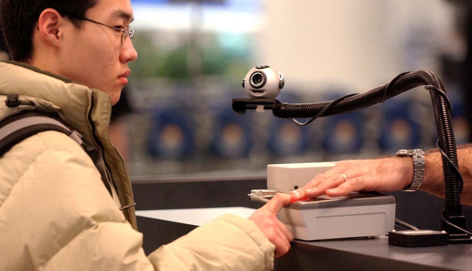 Biometric fingerprint and face scanner at JFK
