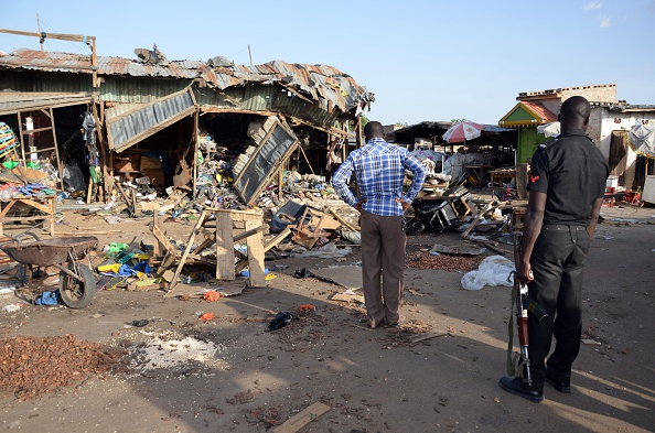 Aftermath of twin female suicide bomb attacks at a busy market in northeastern Nigerian