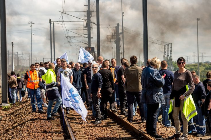 Striking ferry workers at Calais
