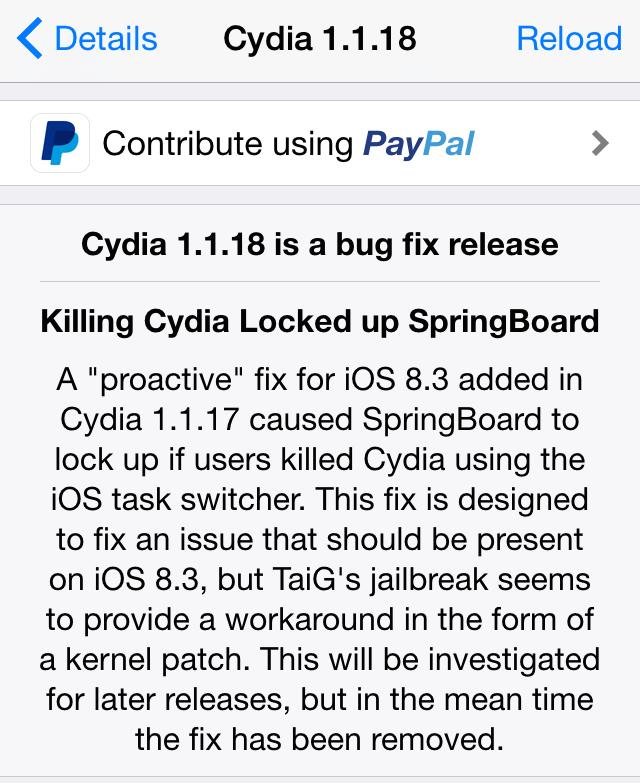Cydia Installer 1.1.18 update