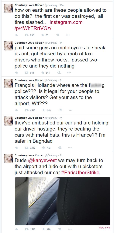 Courtney Love Twitter Paris Uber Violence Protest