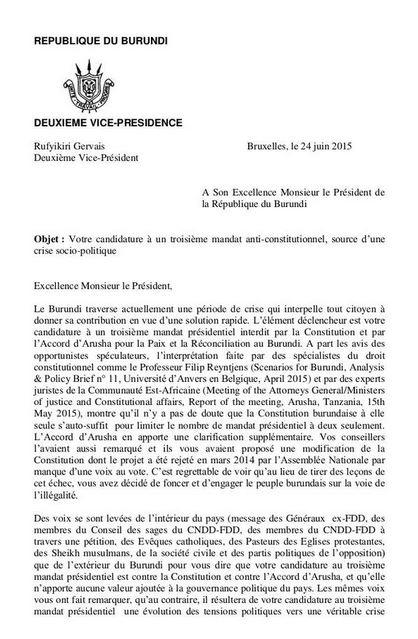 VP Letter Burundi
