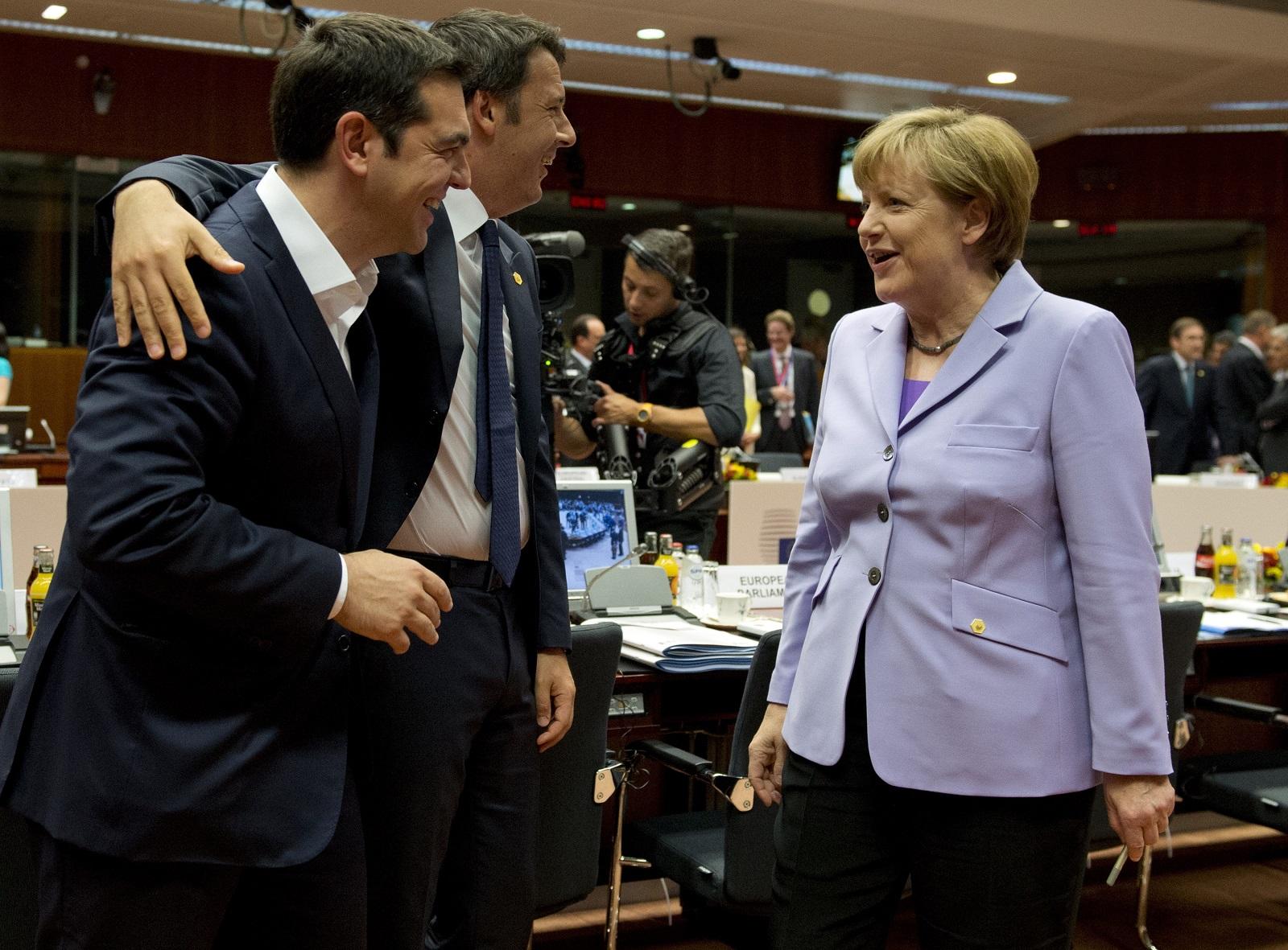 Angela Merkel, Matteo Renzi and Alexis Tsipras