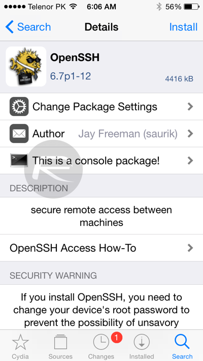 OpenSSH tool for iOS 8.3 jailbreak
