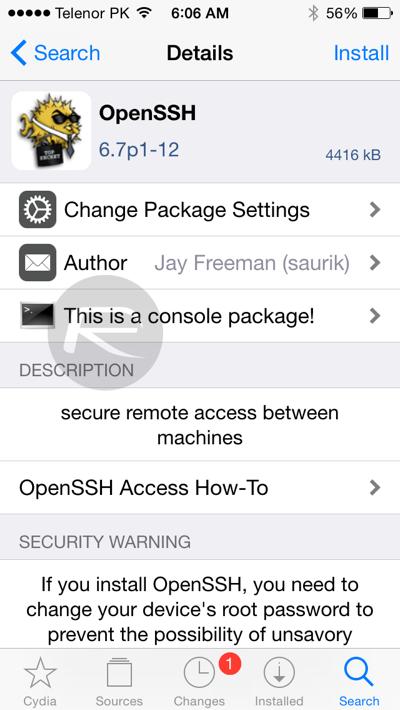 OpenSSH tool for iOS 8.3 jailbreak