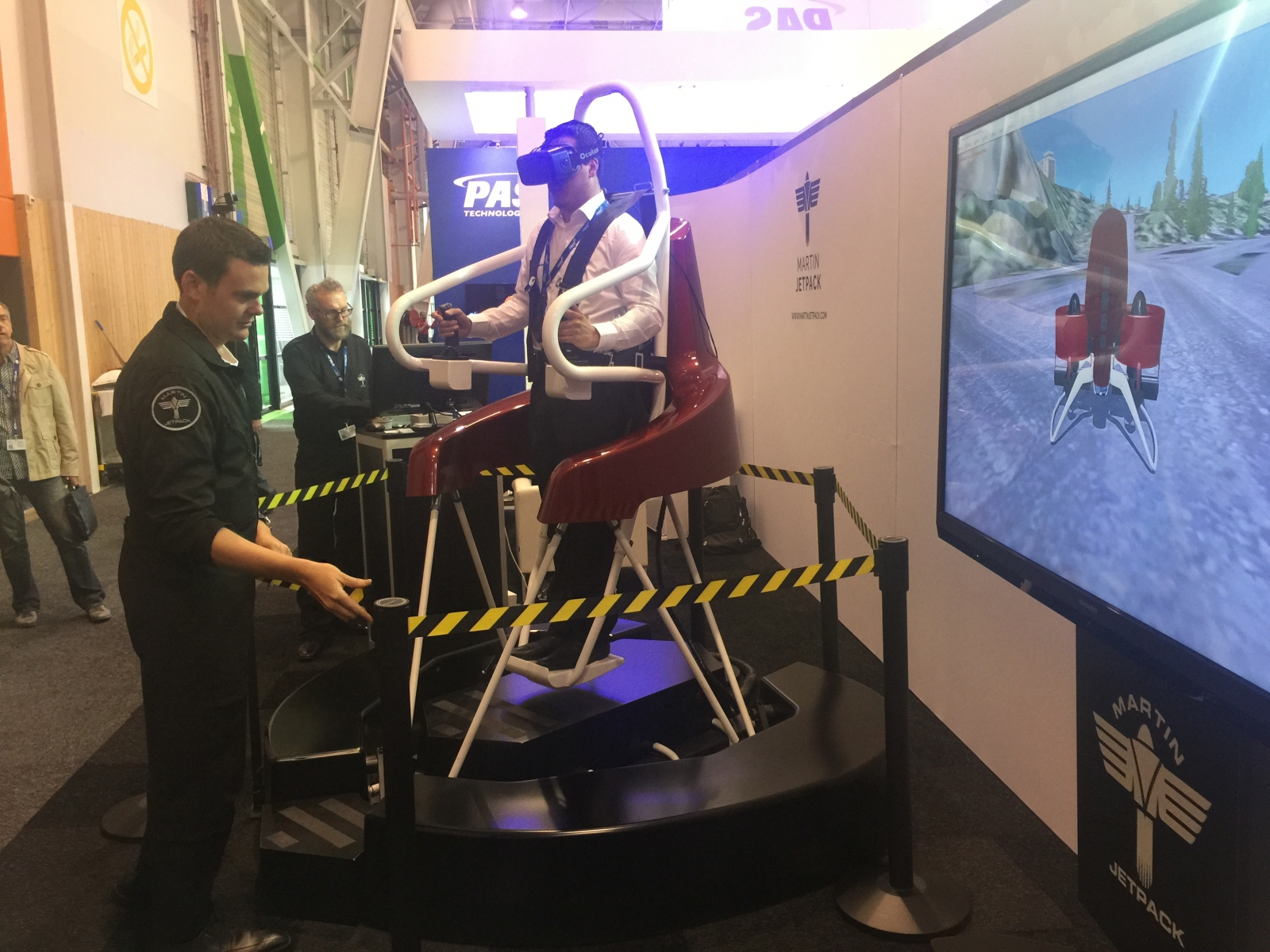 Martin Jetpack VR trial at Paris Airshow