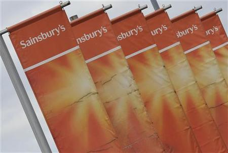 Banners at a Sainsbury store are seen in central London