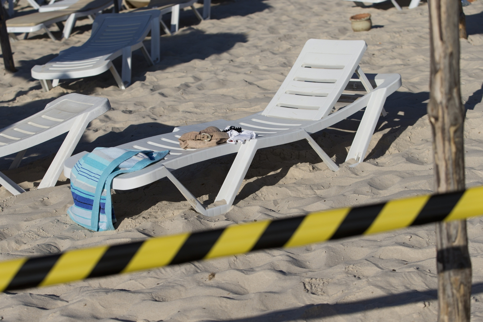 deserted belongings on deckchair