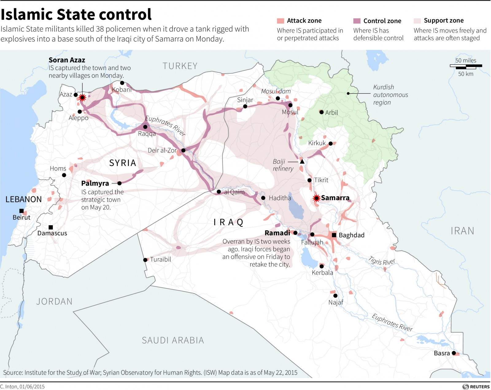 Isis timeline of the islamic state isis map map of iraq and syria showing gumiabroncs Gallery
