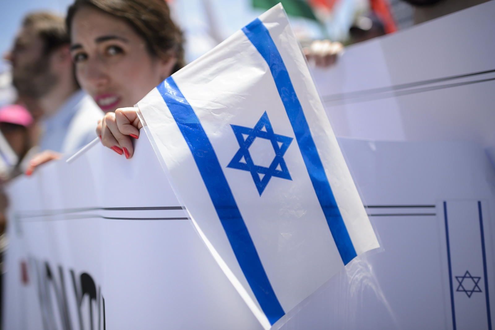 Pro-Israel protesters outside the Human Rights Council