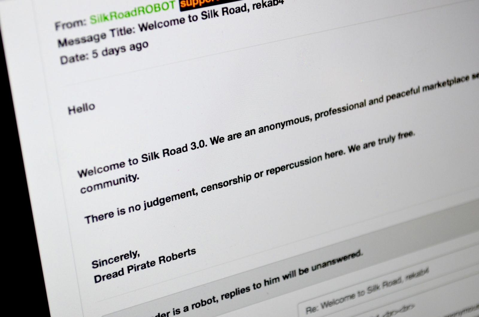 Silk Road 3 message from DPR