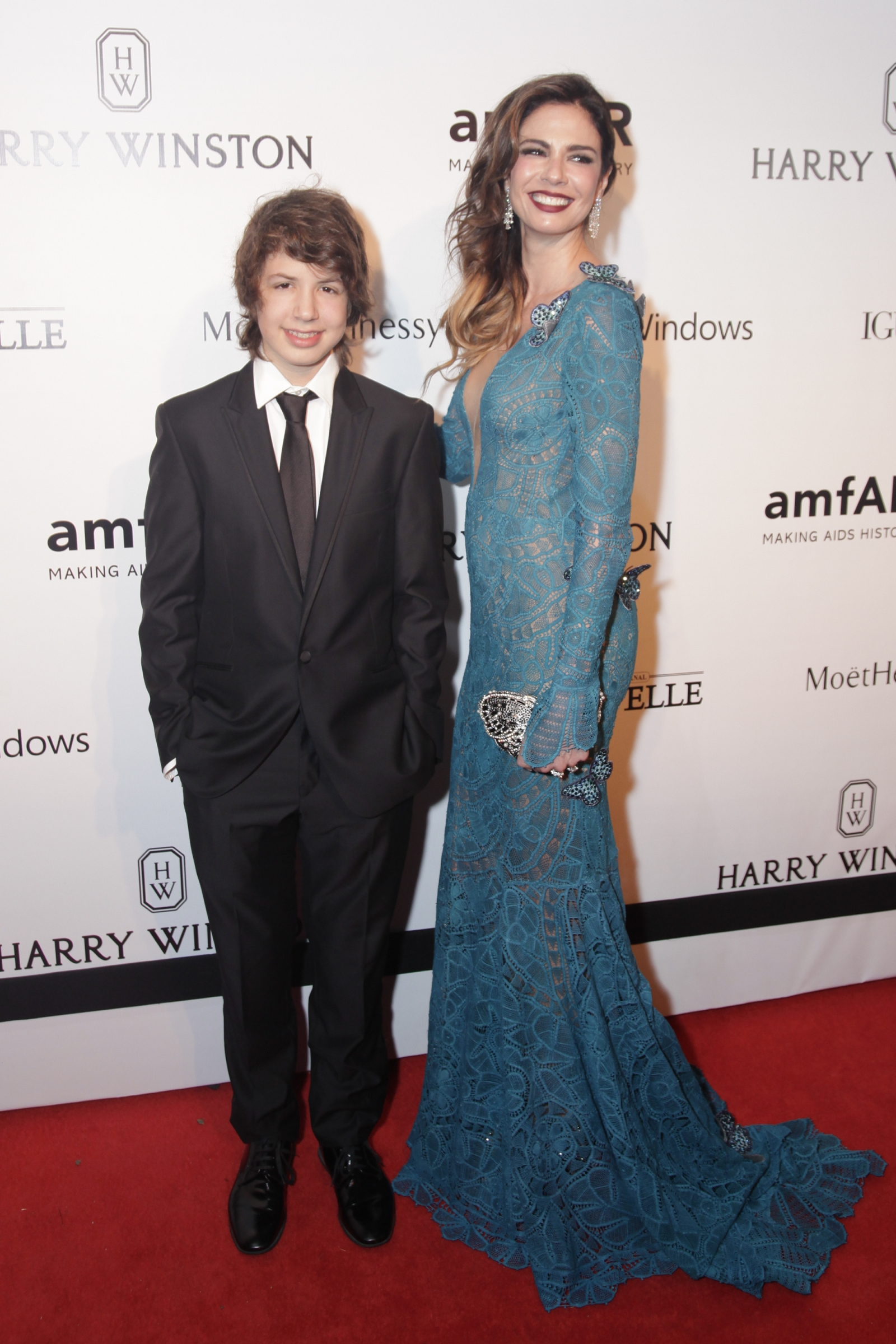 Luciana Morad and son Lucas Jagger