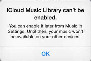 iCloud Music Library can't be enabled error