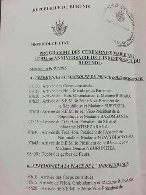 Burundi independence day