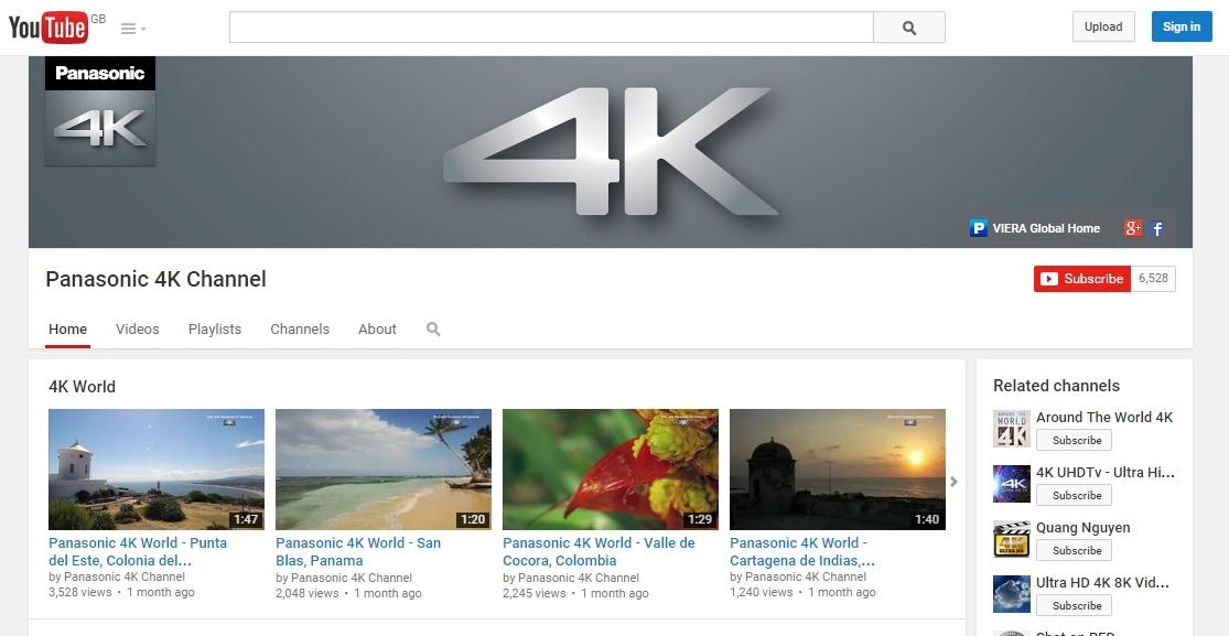 YouTube 4K channel