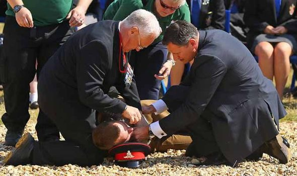 Soldier faints guarding Prince Charles