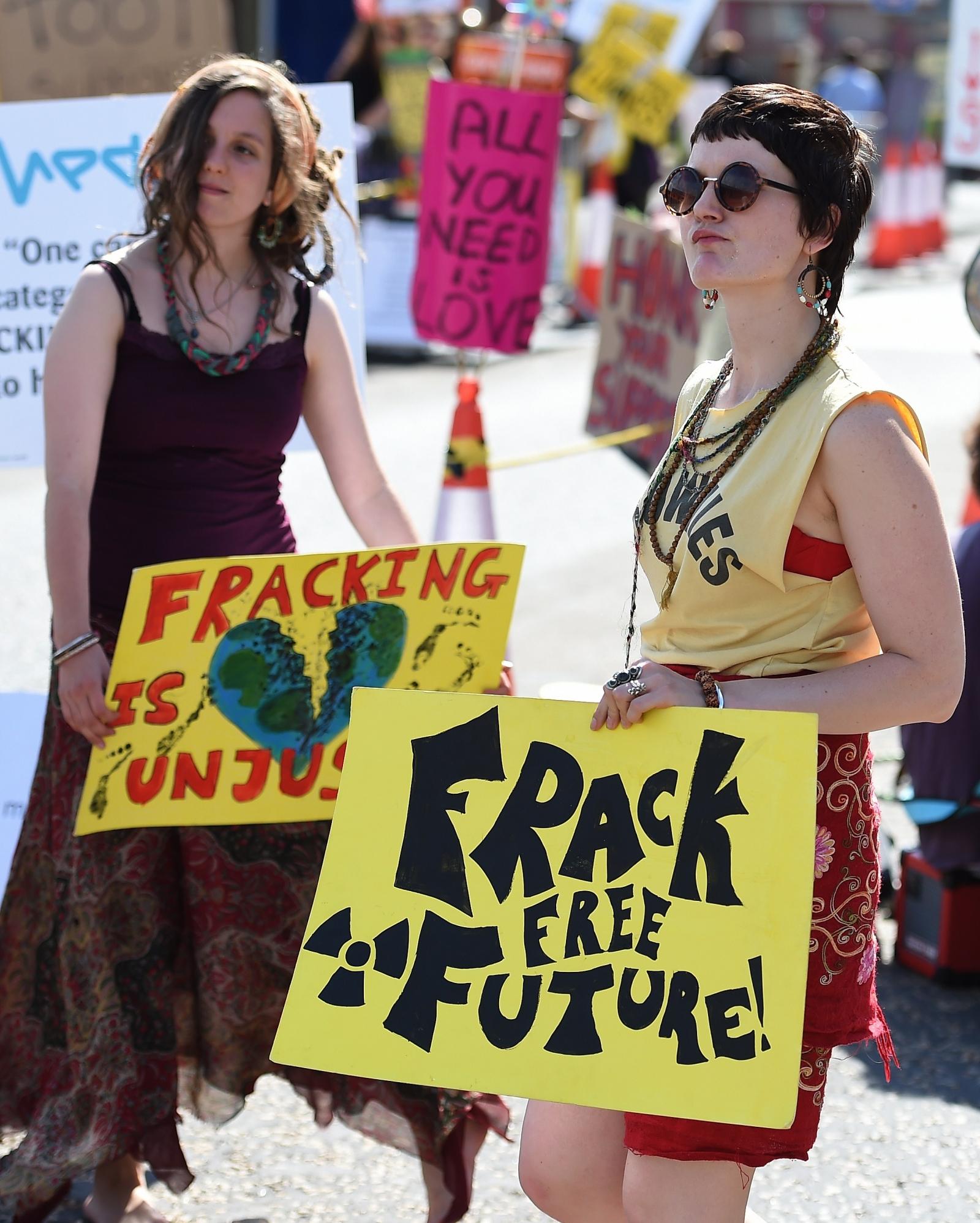 Women protesting against fracking