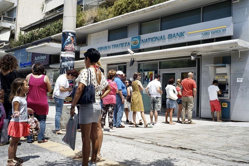 Greece Bank ATM queue