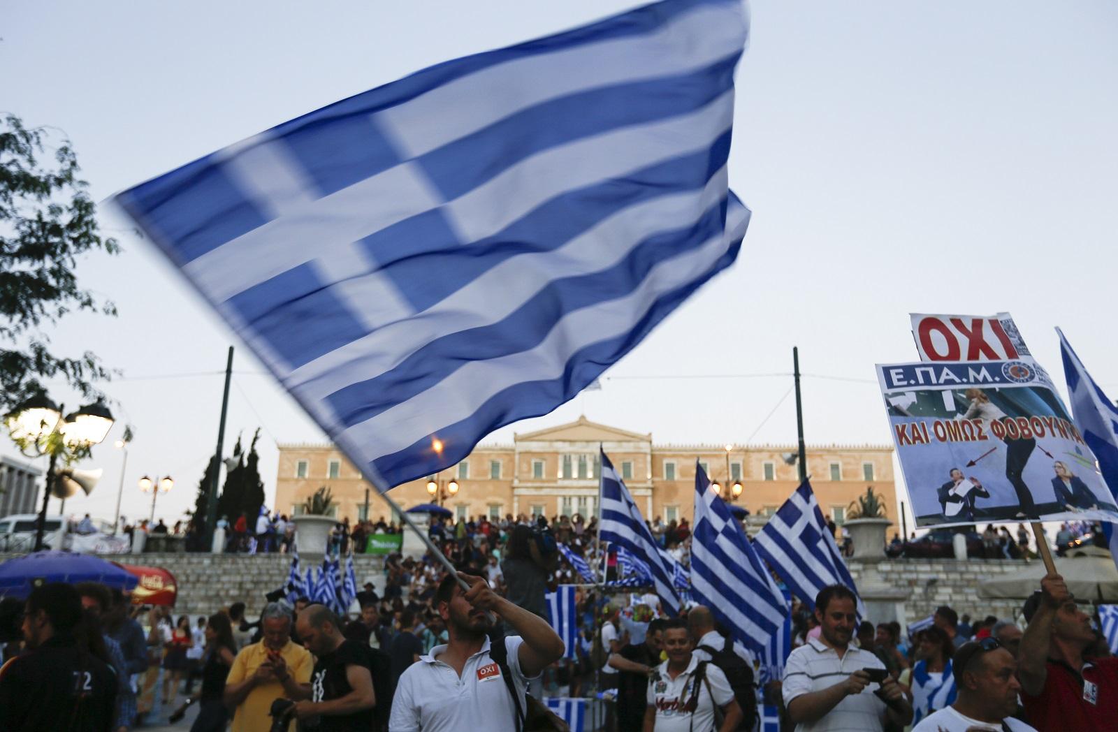 Greek voters celebrate a No vote