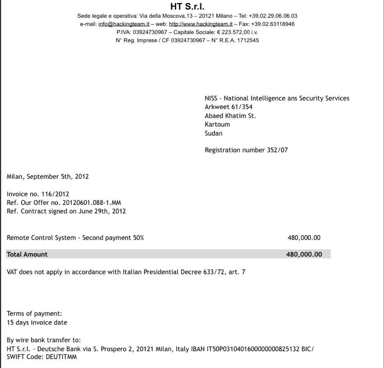Hacking Team Sudan Invoice