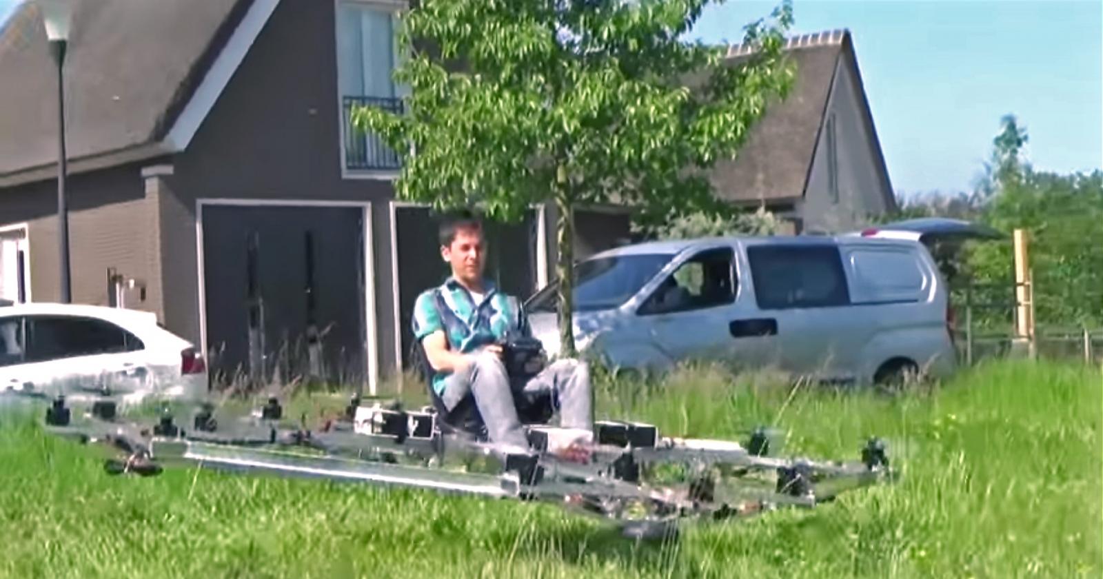Thorstin Crijns testing his personal flight vehicle