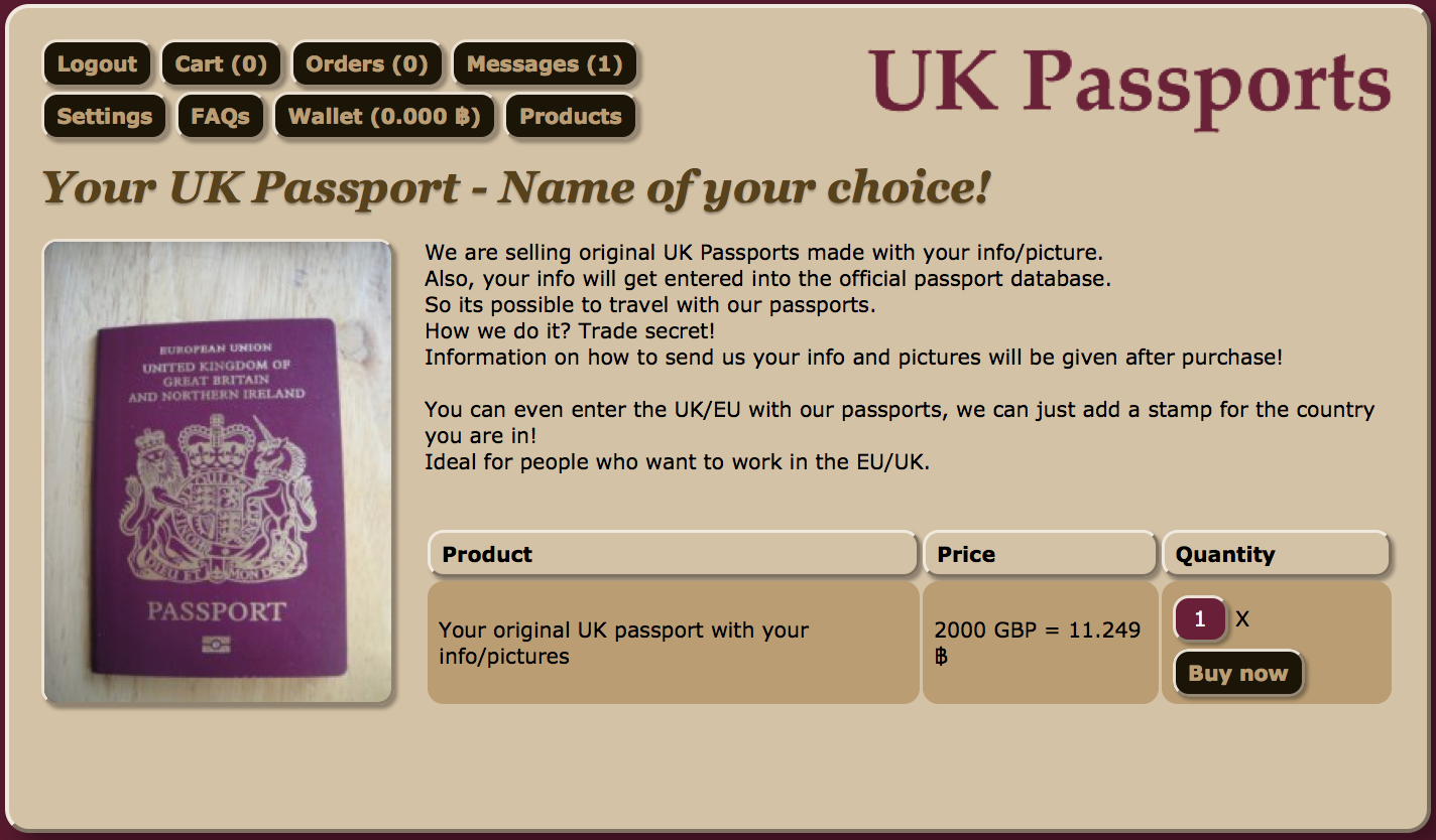 Fake UK passport website on the darkweb