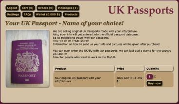 Fake UK passport website on the darkweb
