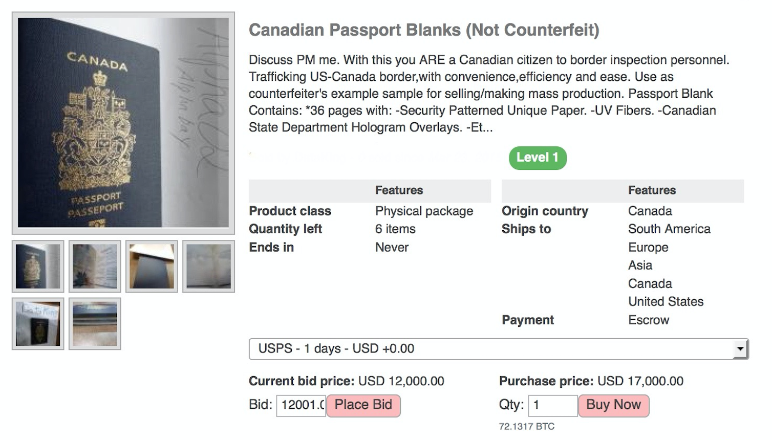 Blank Canadian passport on dark web