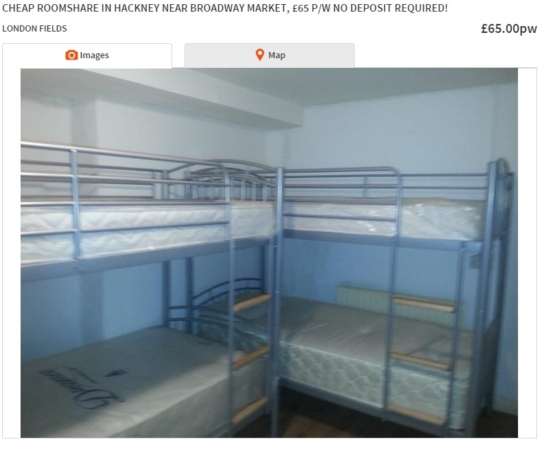 sharing bedroom london rents