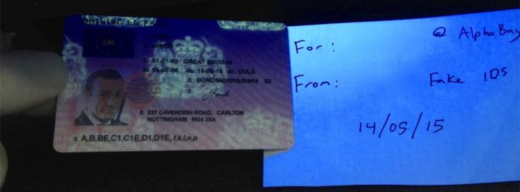 Fake UK driving license