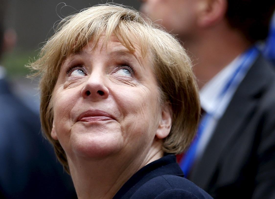Angela Merkel arrives in Brussels on 7July