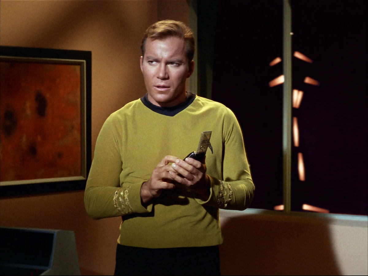 Captain Kirk using the Communicator in StarTrek