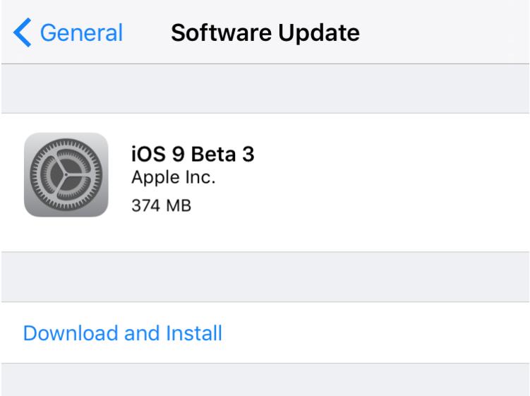 iOS 9 beta 3