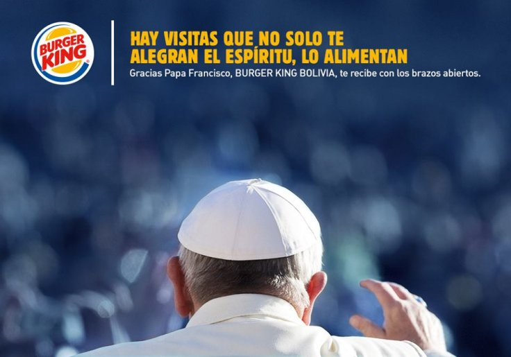 Papa Francisco Burger King Bolivia