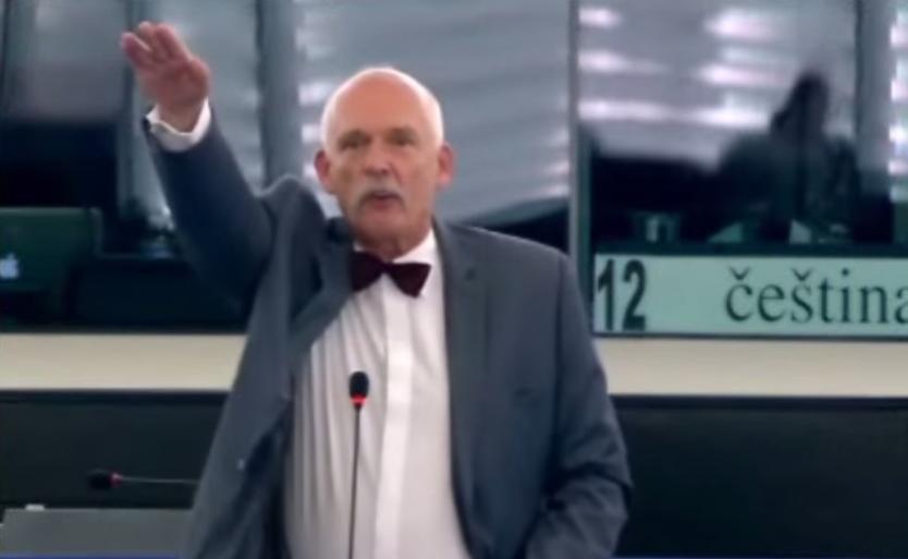 Polish Mep Janusz Korwin Mikke Gives Nazi Salute And